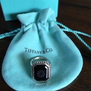 Tiffany Onyx Daisy ring, size 5.5